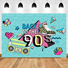 Photography Back to The 90's Backdrop Birthday Decoration Blue Graffiti Retro Radio Shoes Vinyl Hip Hop Music Fashion Themed Photo Background Party Banner Supplies 7x5ft Photo Booth Studio Props