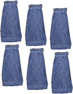 KLEEN HANDLER Heavy Duty Commercial Mop Head Replacement   Wet Industrial Blue Cotton Looped End String Cleaning Mop Head Refill (Pack of 6)