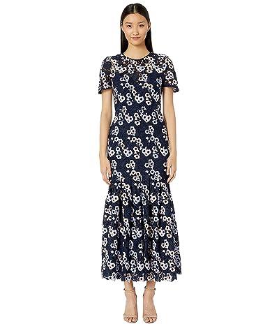 ML Monique Lhuillier Short Sleeve Multicolored Lace Midi Dress (Azure) Women