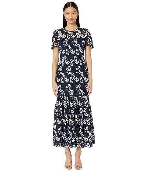 ML Monique Lhuillier Short Sleeve Multicolored Lace Midi Dress