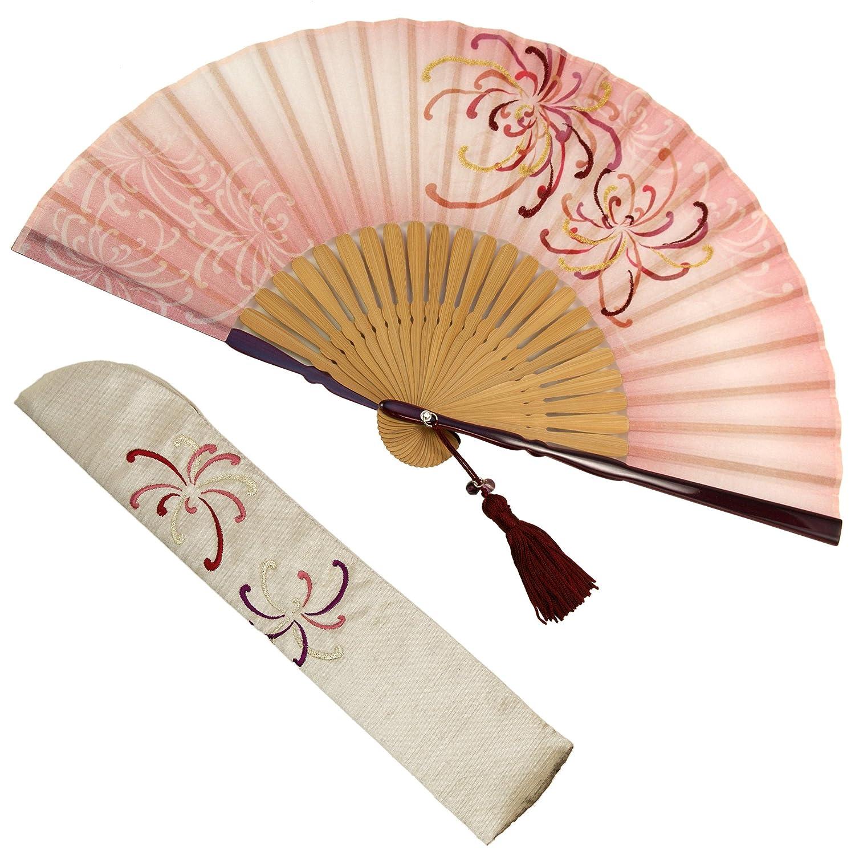 扇子 女性 扇子袋?ハンカチセット 凛花(ピンク) 箱入り おしゃれ コットン 女性用 レディース 扇子