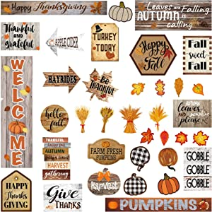 36 Pieces Thanksgiving Autumn Fall Bulletin Board Decorations Farmhouse Home Sweet Classroom Bulletin Board Decorations Hello Fall Welcome Pumpkins Cutouts for Home Holiday Classroom Decorations