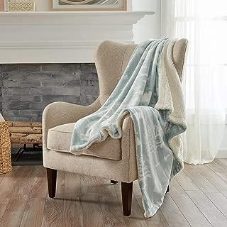 Home Fashion Designs Premium Reversible Two-in-One Sherpa and Fleece Velvet Plush Blanket. Fuzzy, Cozy, All-Season Berber Fleece Throw Blanket. (Enchanted Woods - Blue)