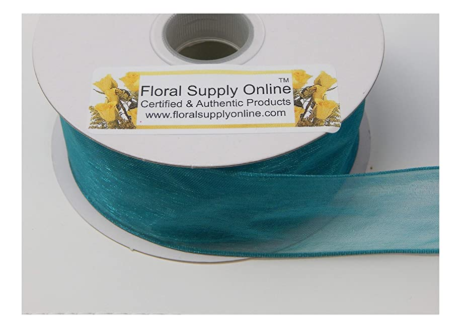 #9 Monofilament Edge Sheer Organza Ribbon for Floral, Fashion, Craft, Scrapbooking, Gift Wrapping, Hair Bows, Wedding, Baby Shower, and Decorating Projects.(1-1/2 Inch x 25 Yard, Teal Green)