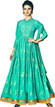 Exotic India Pool-Green Designer Floor-Length A-Line Suit with Printed Golden Bootis and Zari Embroidered Border