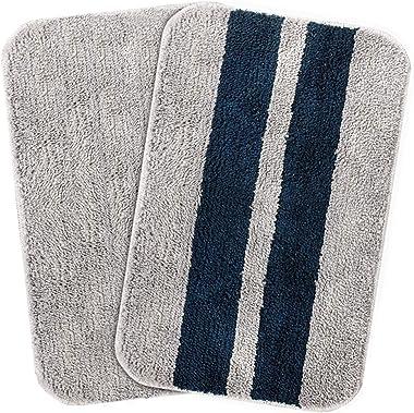 Cazimo Striped Door Mat (Blue : Grey, Microfiber, 16 x 23 Inches, 40 cm x 58 cm), Set of 2