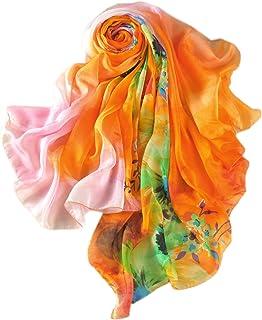 prettystern Oversize Sciarpa Di Seta Foulard Donna Chiffon Pareo Stola Estate Fresca multicolore Floreale