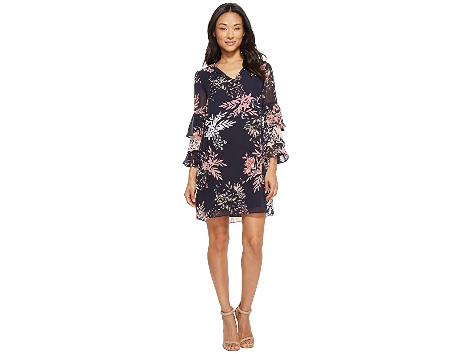 Vince Camuto Chiffon Float with Tiered Sleeves (Navy Multi) Women