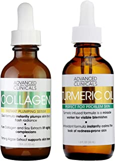 Advanced Clinicals Collagen Serum and Turmeric Oil Skin Care Set. Plumping serum with Turmeric oil for face help brighten ...