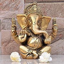 Ganesh, Ganpati, Brass Statue Indian Hand Crafted Religious Sculpture of Ganesha (11 cm)