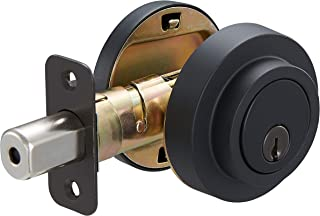 AmazonBasics Contemporary Round Deadbolt Door Lock, Single Cylinder, Matte Black