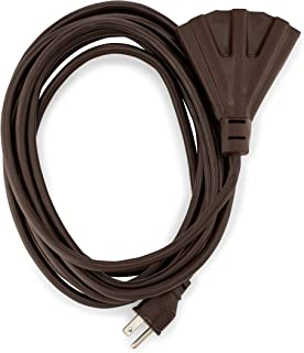 Holiday Lighting Outlet Brown Outdoor Extension Cord | 3 Prong Outdoor & Indoor Outlet Splitter | Perfect For Landscape Lighting | 15 Feet