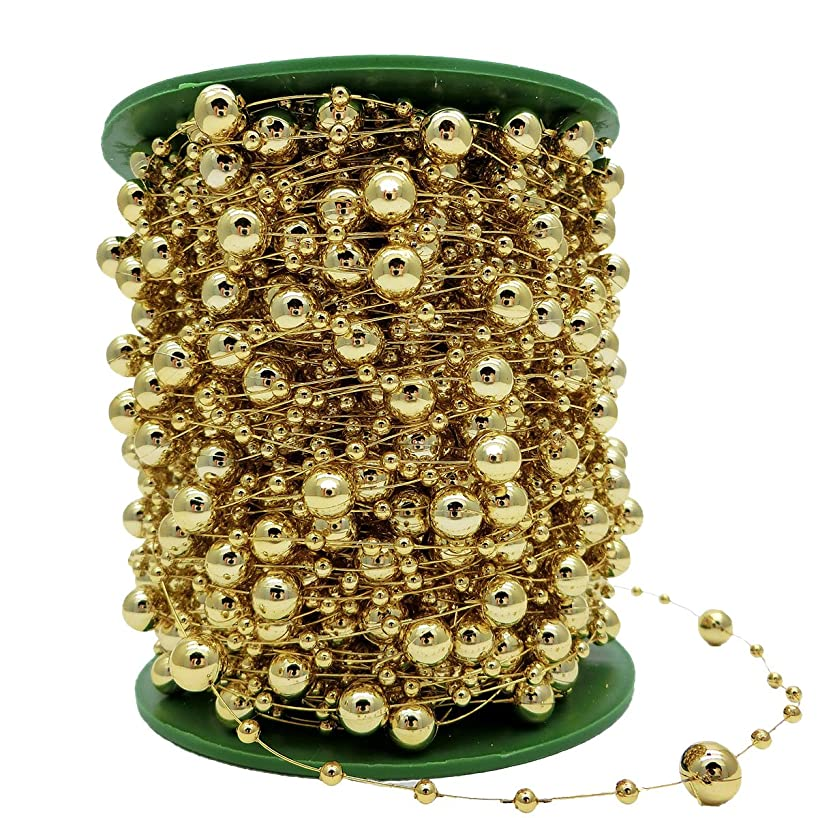 200ft 8+3mm Round Crystal Beads for DIY Accessories Wedding Garland,Decorate Your Christmas Tree DIY Clothing or Bracelet (Gold)