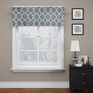 Flamingo P Moroccan Valance Curtain Extra Wide and Short Window Treatment for for Kitchen Living Dining Room Bathroom Kids Girl Baby Nursery Bedroom (Gray - 52