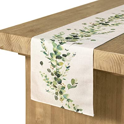 Ling's moment Greenery Table Runner 12 x 72 Inch for Thanksgiving Table Decor Christmas Decoration Fall Table Runner for Farmhouse Decorations, Kitchen Dinning Outdoor Table Decor