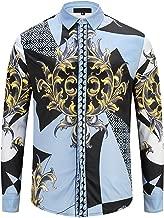 PIZOFF Mens Long Sleeve Luxury Design Print Dress Shirt