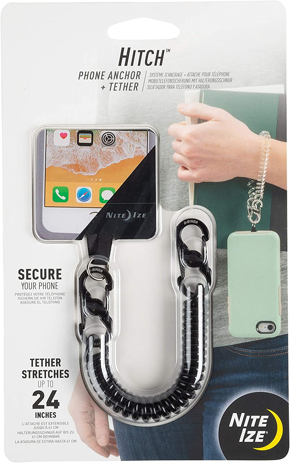 Nite Ize Hitch Plus Tether - Phone Case Anchor and Tether for Drop Protection - Black Tether (HPAT-01-R7)