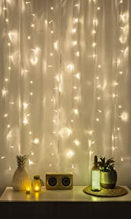 Merkury Innovations Cascading LED Window Curtain String Lights Wedding Party Home Garden Bedroom Outdoor Indoor Wall Decorations, Warm White