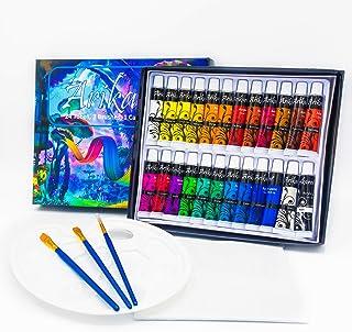 Arikaree® Colori Acrilici Dipingere, Set Pittura Tempera, Kit Tempere 24 Tubetti, 3 Pennelli, Tavolozza, Tela Colore Acril...