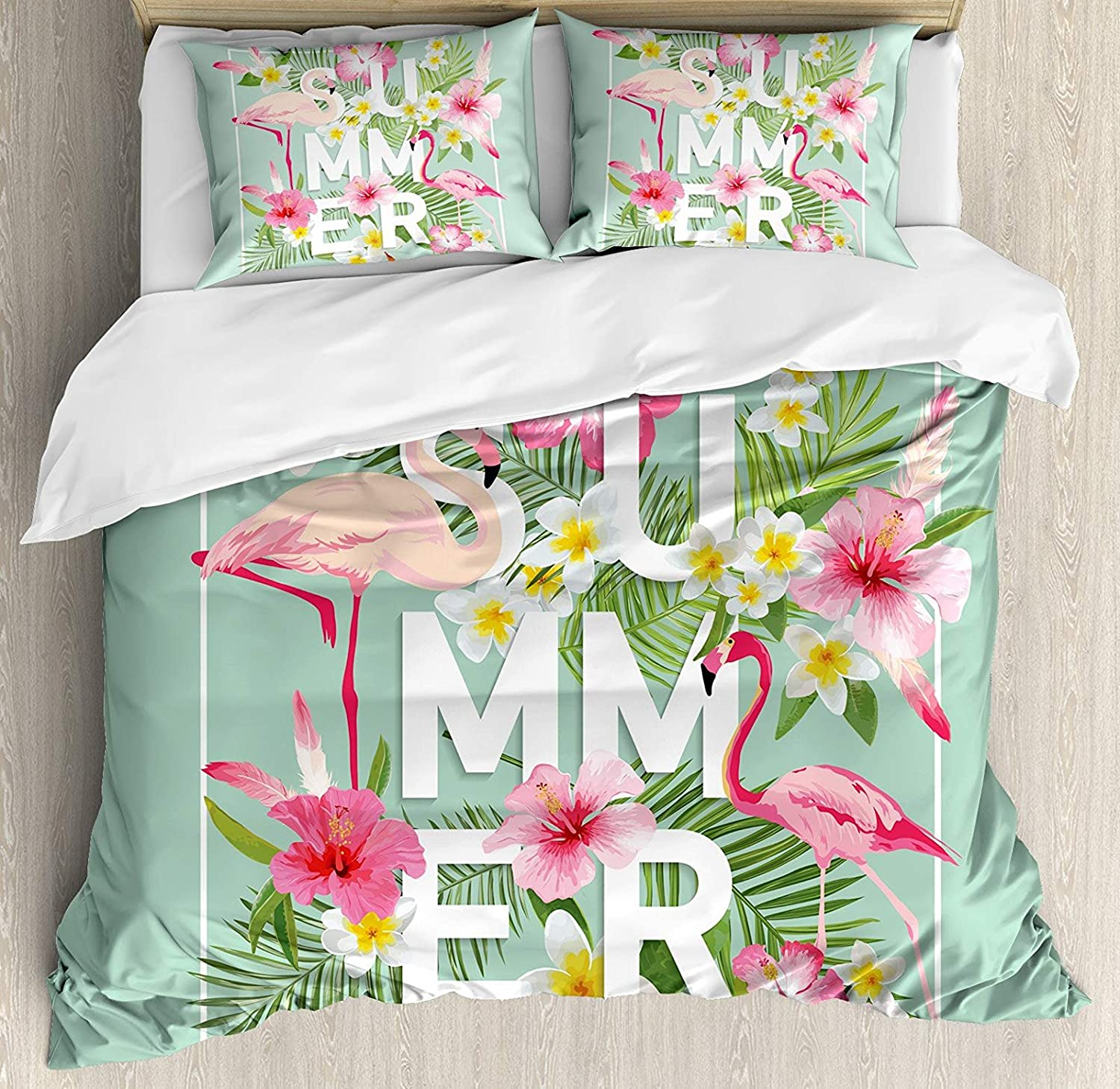 Floral 4 Pcs Bedding Set Full Size, Tropical Flower Flamingos Retro Wedding Romance Petals Graphic Artwork All Season Duvet Cover Bed Set, Mint Green Pink