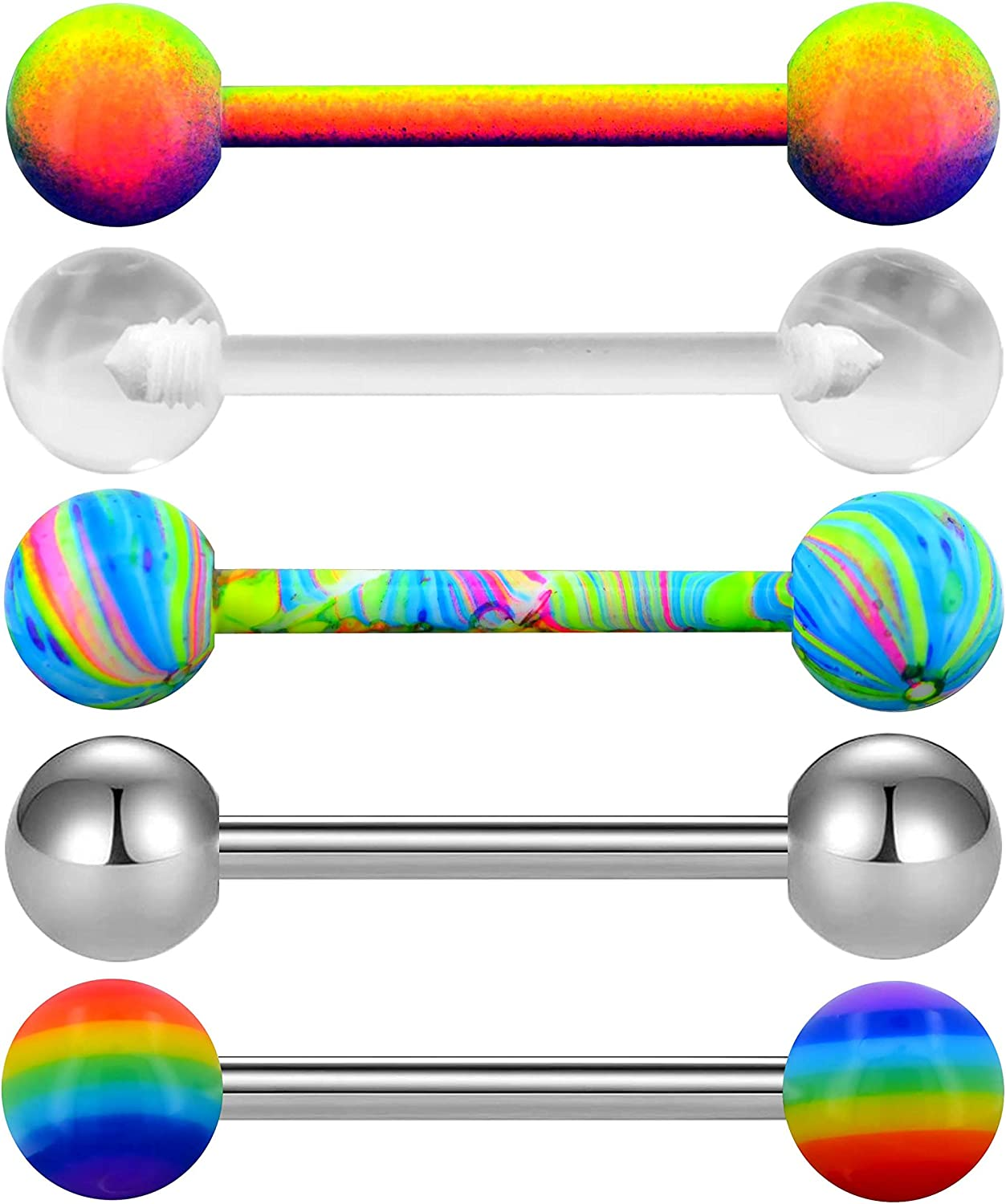 OUFER 5PCS 14G Stainless Steel Tongue Rings Barbell Rainbow Colorful Tongue Bar Piercing