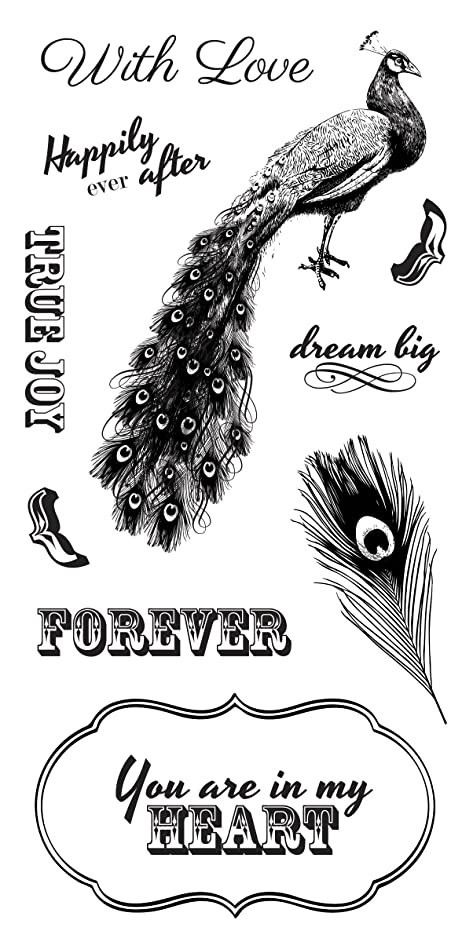 Fiskars 103680-1001 Clear Stamps, 4 by 8-Inch, Peacock Elegance