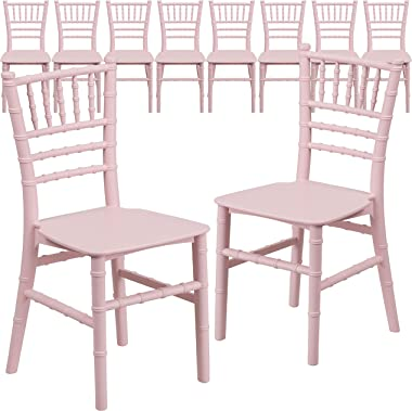 Flash Furniture 10 Pack Kids Pink Resin Chiavari Chair
