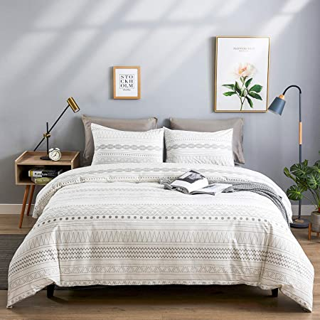 WARMDERN Grey Stripe Boho Duvet Cover Set King, 3pcs Ultra Soft Breathable Aztec Cotton Comforter Cover with Zipper Ties, 1 Bohemian White Duvet Cover & 2 Pillowcase(King,Grey)