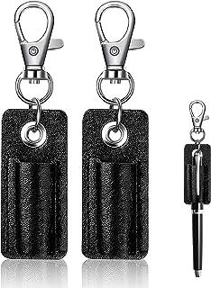 2Pcs Portable Pen Holder Leather Lanyard Pen Holder Anti-lost Pen Holder Protector for Neck Lanyard Badge Pen Holder Keych...