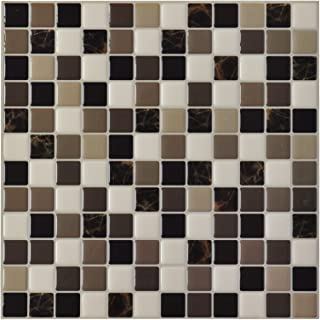 Art3d 6-Pack Backsplash Tile for Kitchen Marble Square Peel and Stick Tile, 12