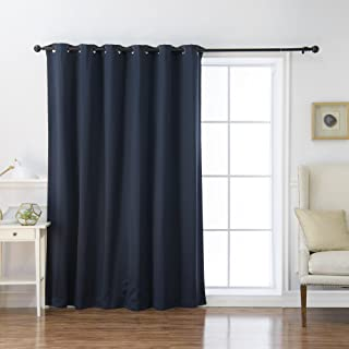 Best Home Fashion Wide Width Thermal Insulated Blackout Curtain - Antique Bronze Grommet Top - Navy - 80