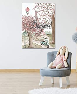 Eiffel Tower Bonjour Paris Vintage Blush Pink, UNFRAMED Print For Girls Teen Bedroom French Themed Baby Nursery Wall Art Decor, 6 Sizes, 5x7 to 24x36