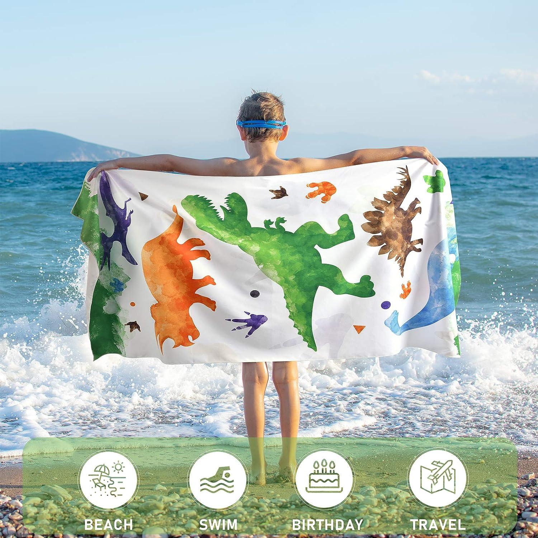 Toallas de Ba/ño Infantiles 76 x 152cm Dinosaurio Microfibra Toalla de Playa Toallas de Acampada Piscina Nataci/ón Playa Camping Absorbente Viaje Toallas de Mano Ducha Toallas de Mano