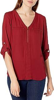 A. Byer womens Juniors Zipper Front Tab-Sleeve Top Blouse