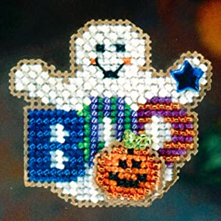 Boo Ghost Beaded Counted Cross Stitch Halloween Ornament Kit Mill Hill 2006 Autumn Harvest MH18-6202