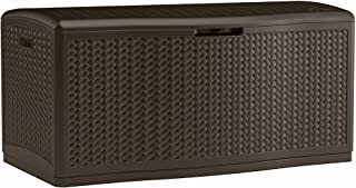 Suncast 124 Gallon Extra Large Deck Box - Lightweight Resin Outdoor Storage Deck Box for Patio Cushions, Gardening Tools and Toys - Mocha Herringbone