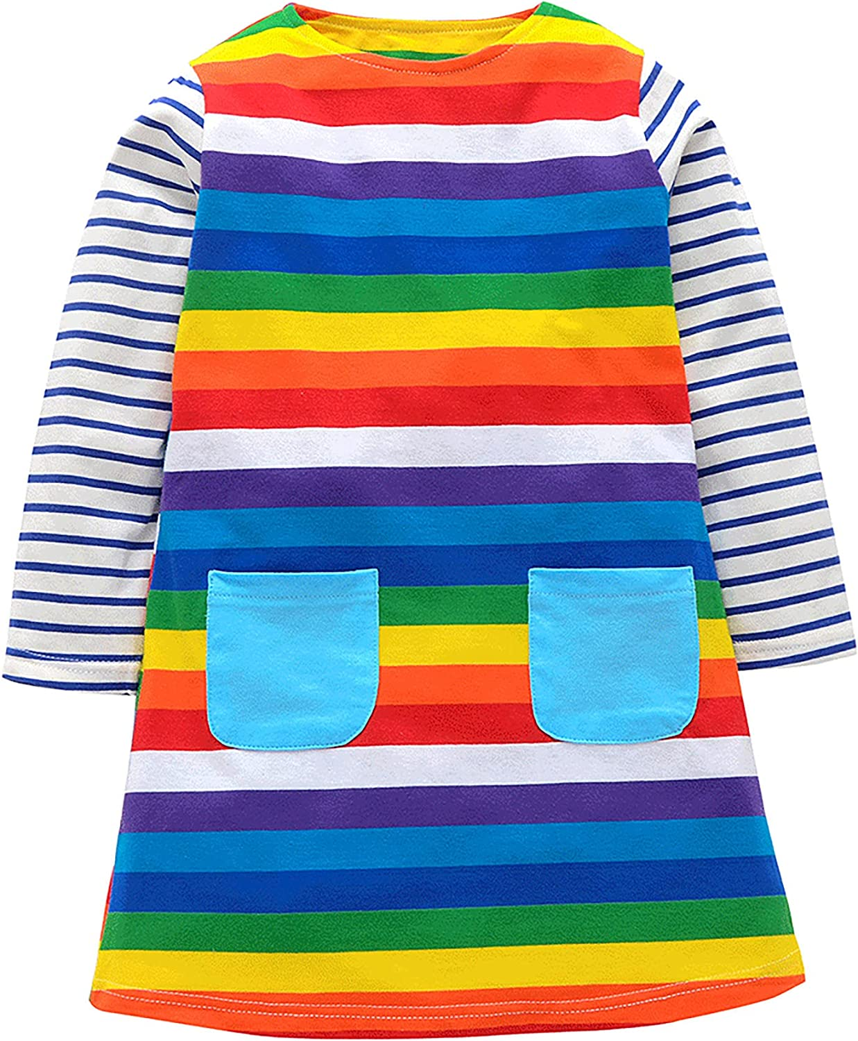 LuckyCandy Toddler Girls Dresses Rainbow Animals All-Over Print Long Sleeve A-Line Dress for 2T-7T