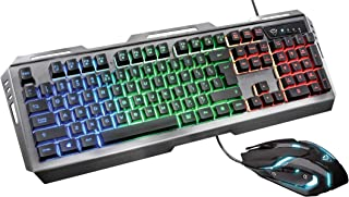 Trust Gaming GXT 845 Tural USB, Kit Tastiera con LED, Anti-Ghosting, 12 Tasti Multimediali, QWERTY Italiano e Mouse con 6 ...