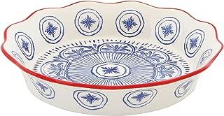 Creative Co-Op DA8376 Blue & Red Hand Stamped Stoneware Pie Dish