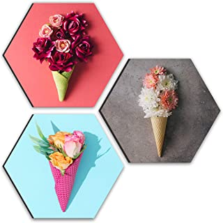 SAF Preety Flower and Leaf in Cone Pot 3 Pieces UV Textured Multi-Effect Self adheshive Painting 17 Inch X 17 Inch SANFHX3...