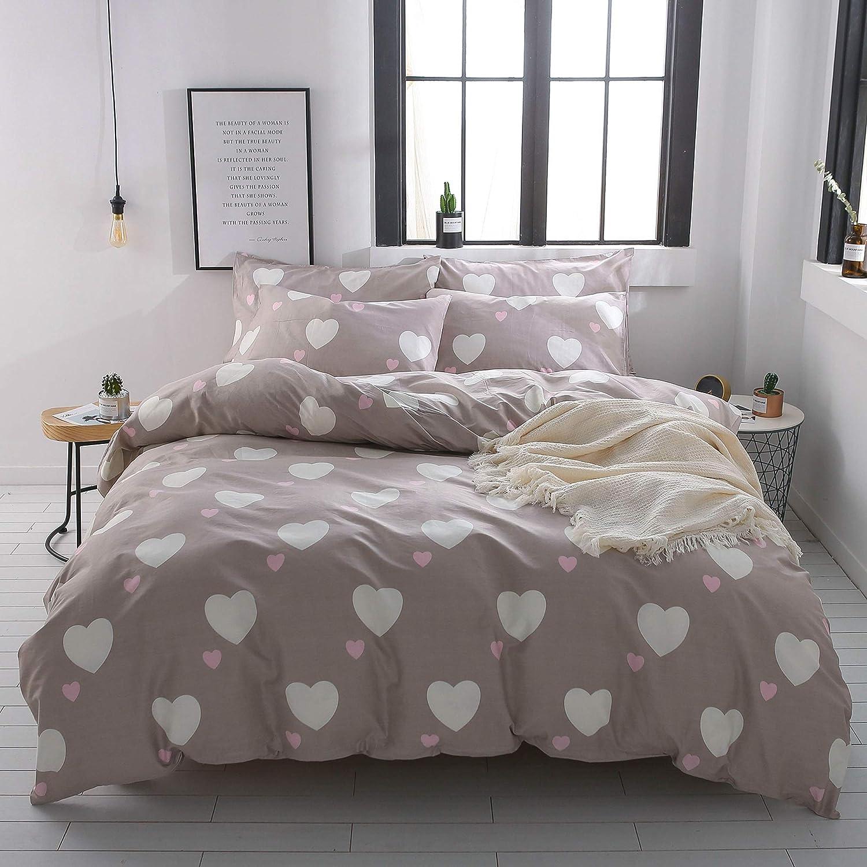 EnjoyBridal Heart-Shaped Pattern Teens Bedding Comforter Cover Sets, Cotton Queen Bedding Sets for Boys Girls with 2pc Pillow Shams, Reversible Kids Duvet Cover Sets Full for Women, No Comforter
