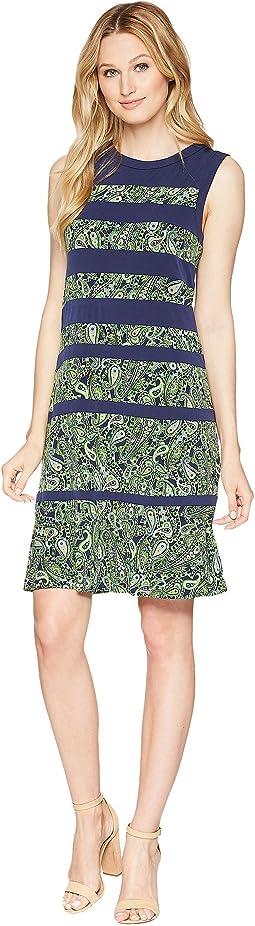 Paisely Paneled Sleeveless Dress