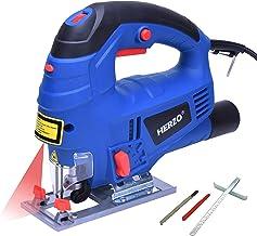 HERZO Laser Sierra de calar (800 W) Control de velocidad variable, guía de rasgadura, 2 cuchillas de madera, adaptador de vacío