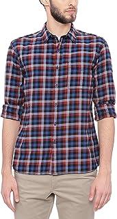 BASICS Slim Fit Picante Red Twill Checks Shirt