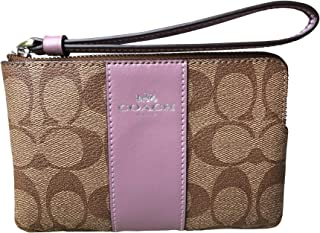 Coach Signature PVC and Leather Corner Zip Wristlet