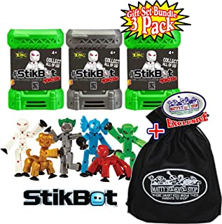 Hog Wild StikBot Monsters Mystery Capsule Figures Gift Set Bundle with Bonus Matty's Toy Stop Storage Bag - 3 Pack (Assorted)