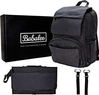 Babalee Premium Diaper Bag - For Modern Parents, Functional and Elegant, Great Baby Shower Gift, Coming with Gift Box, Stroller Hooks and Big Changing Pad