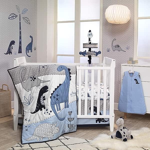 Lambs Ivy Baby Dino Blue White Dinosaur Nursery 6 Piece Crib Bedding Set