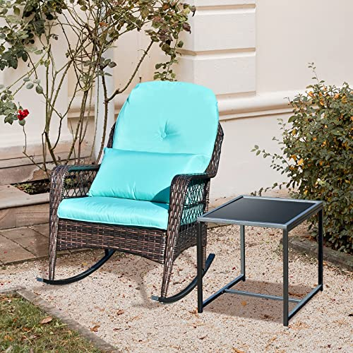popular Apepro discount Patio outlet online sale Rocking Chairs Outdoor Rocker with Coffee Table & Cushions, All-Weather Wicker Outdoor Rocking Chair for Porch Garden & Backyard Turquoise Teal outlet online sale