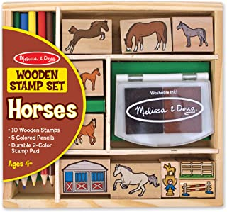 Melissa & Doug Wooden Stamp Activity Set: Horse Stable (10 Stamps, 5 Colored Pencils, 2-Color Stamp Pad, Great Gift for Girls and Boys - Best for 4, 5, 6 Year Olds and Up)